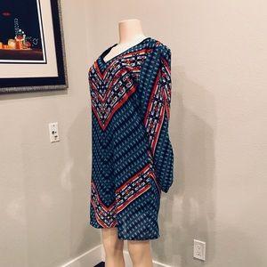 Nostalgia Tribal Print Keyhole Sleeved Tunic Dress